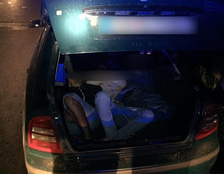 Зупинений за порушення ПДР перевізник трьох нелегалів викинув з авто балаклаву та рацію