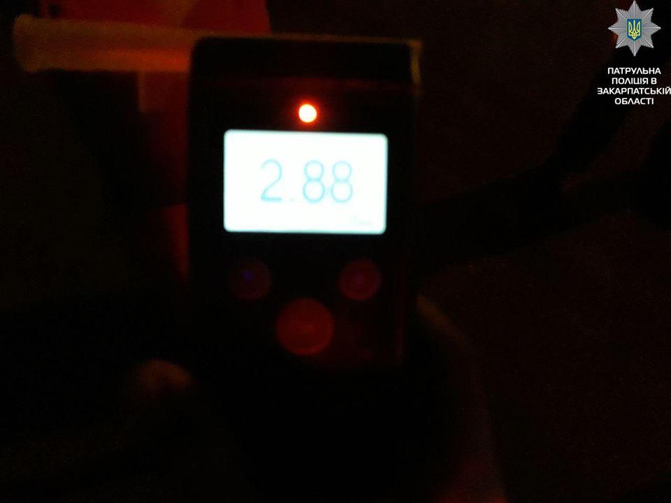 У зупиненого поблизу Сваляви п'яного водія вміст алкоголю в крові вчотирнадцятеро перевищував норму (ФОТО)