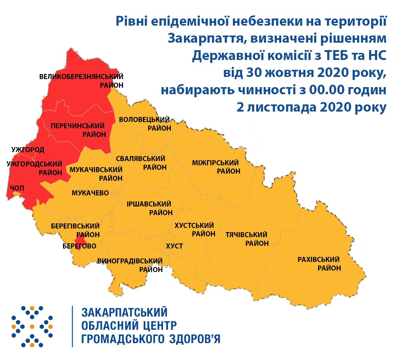 Із 2 листопада Ужгород та Берегове, Великоберезнянщина, Перечинщина та Ужгородщина – у «червоній» зоні