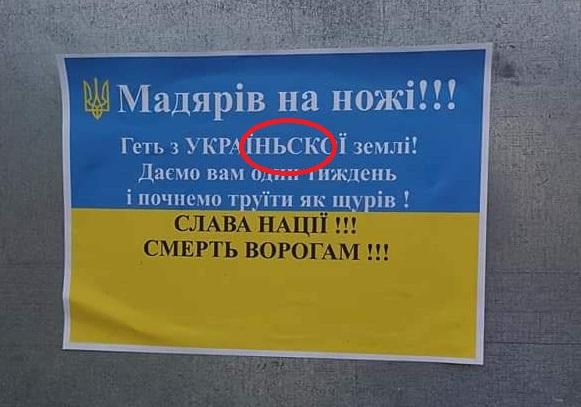 """ФОТОФАКТ. У Берегові влаштували чергову """"антиугорську"""" провокацію з неукраїнськими помилками"""