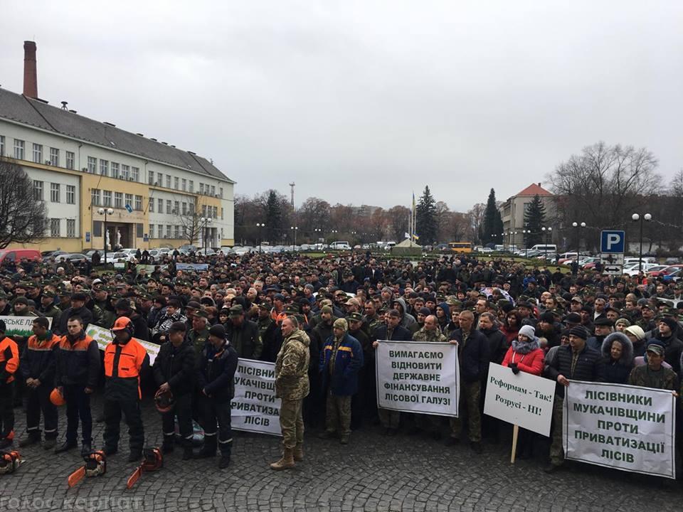 В Ужгороді лісівники протестували проти Стратегії реформування лісової галузі