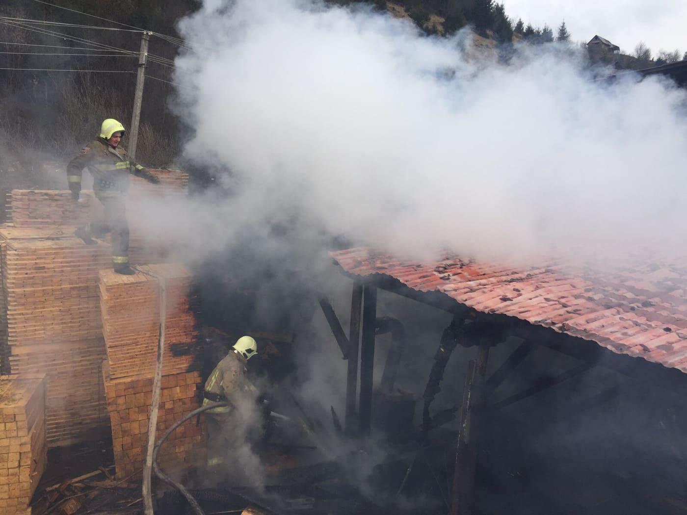 У Міжгір'ї гасили пожежу на пилорамі