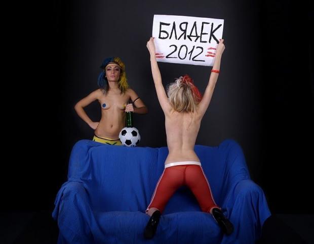 FEMEN устроили порно-протест талисманам Евро-2012. Фото